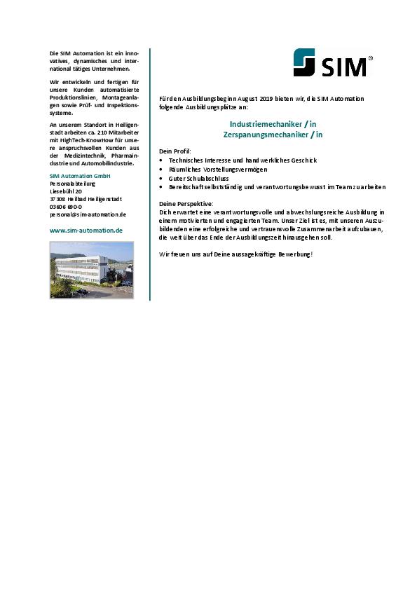 stellenanzeige pdf - Bewerbung Zerspanungsmechaniker